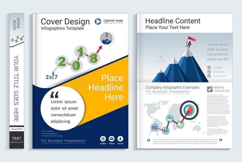 Calibre de conception de livre de couverture avec des éléments d'infographics de présentation illustration de vecteur