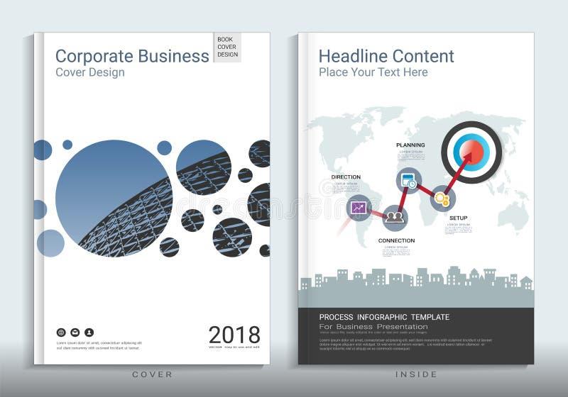 Calibre de conception de livre de couverture d'entreprise constituée en société avec infographic illustration libre de droits