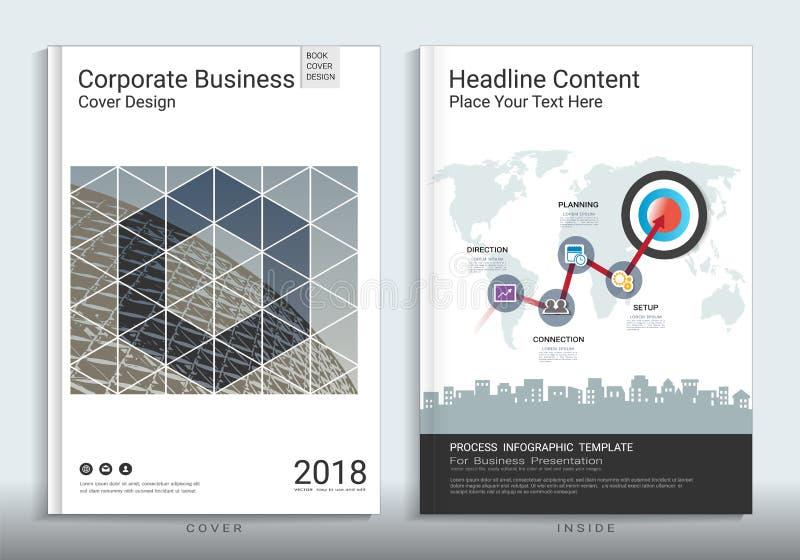 Calibre de conception de livre de couverture d'entreprise constituée en société avec infographic illustration de vecteur