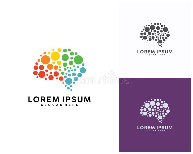 Calibre de conception de logo de cerveau, vecteur de conception de logo de Brain Colorful illustration libre de droits