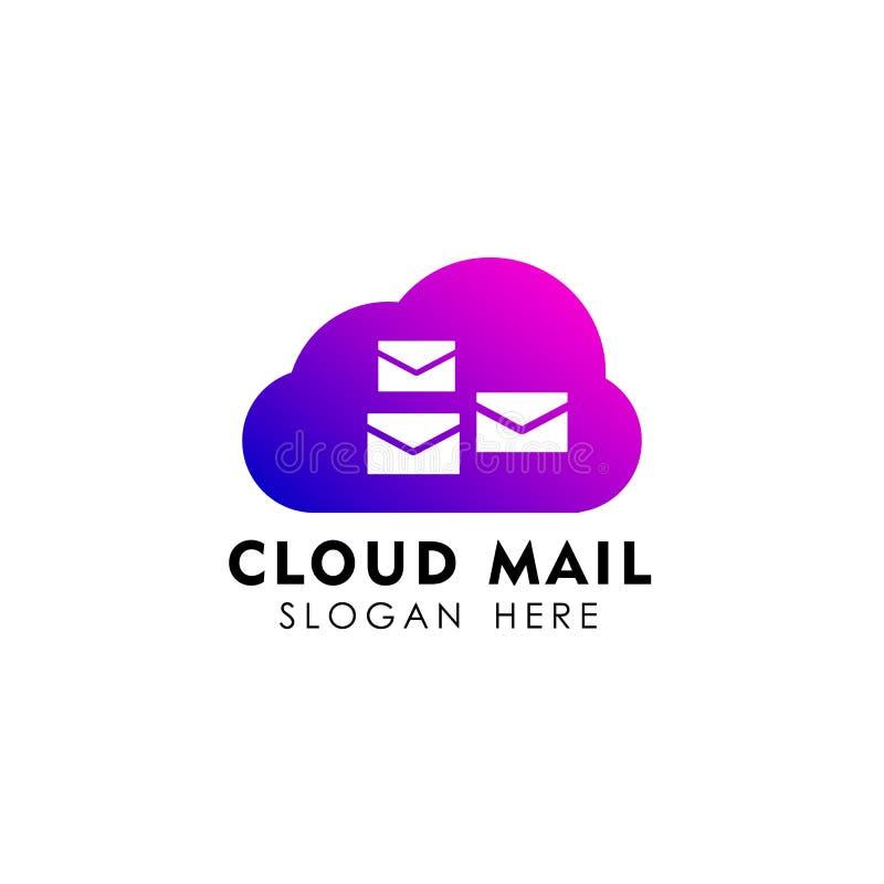 calibre de conception de logo de courrier de nuage r illustration stock