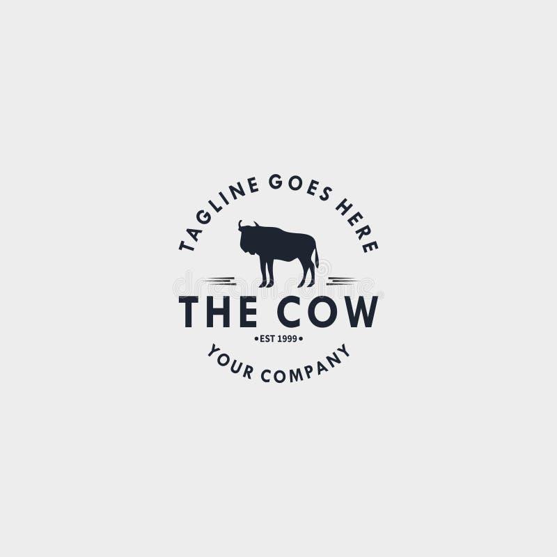 Calibre de conception de logo de cru de vache Concevez les éléments pour le logo, label, emblème, signe illustration de vecteur - illustration stock