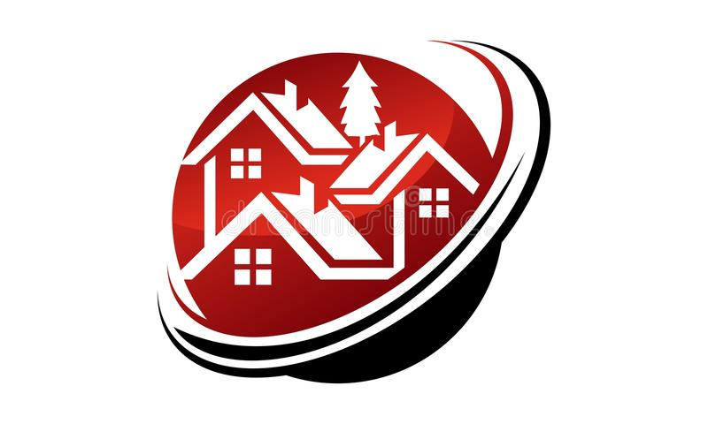 Calibre de conception de logo d'immobiliers illustration de vecteur