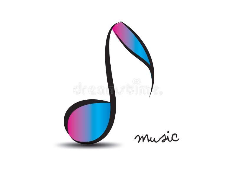 Calibre de conception de logo de musique, note musicale des formes florales, icône de Web illustration libre de droits