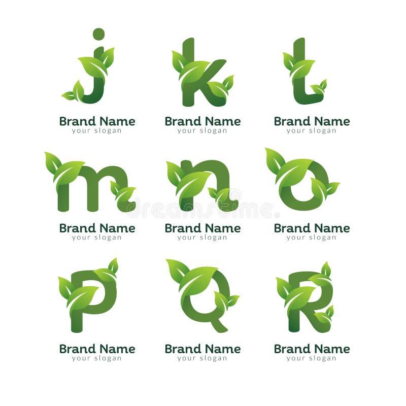 Calibre de conception de logo de paquet de lettre de vert d'Eco Conceptions vertes de vecteur d'alphabet avec l'illustration vert illustration stock