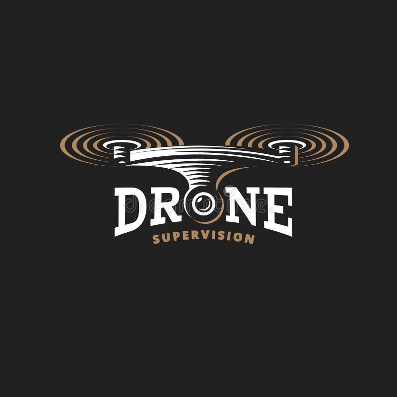 Calibre de conception de logo de quadrocopter de bourdon, emblème sur le fond foncé photographie stock