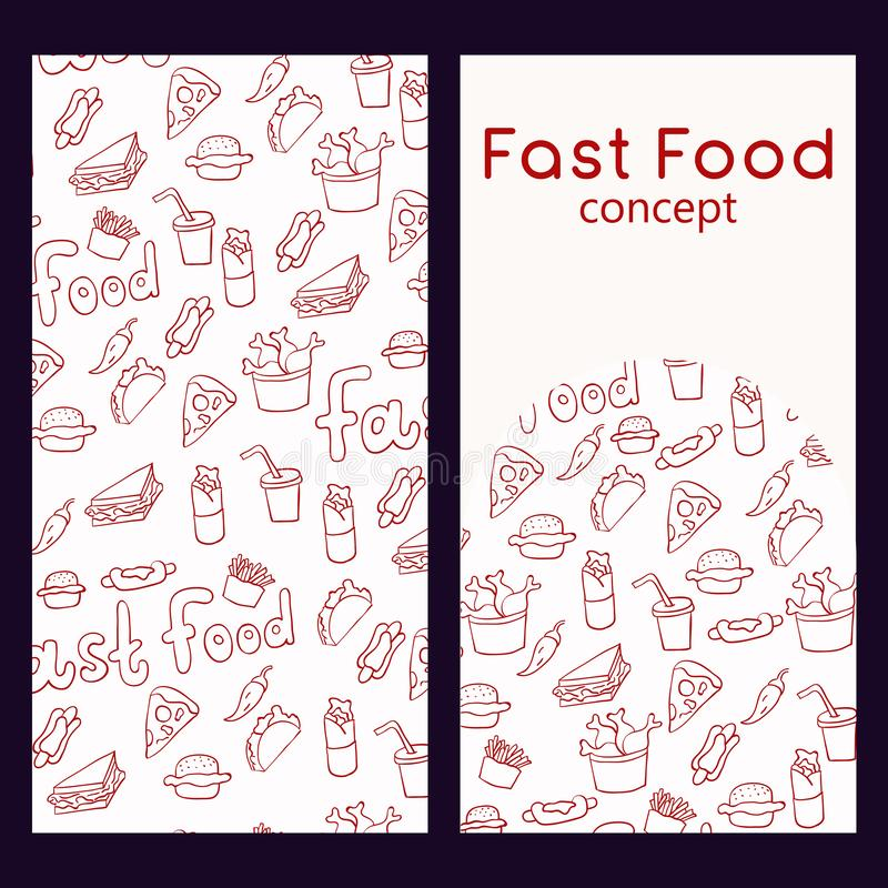 Calibre de conception de logo de vecteur et modèle sans couture dans le style de griffonnage pour l'empaquetage Concept d'aliment illustration stock