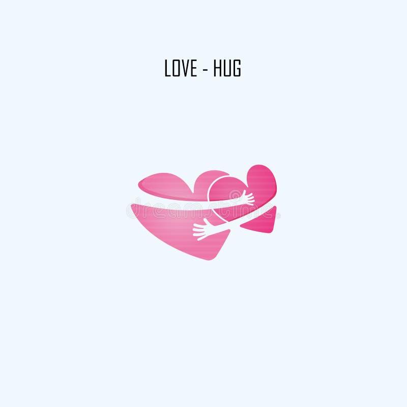 Calibre de conception de logo de vecteur de LOVE-HUG Aide et amour illustration stock