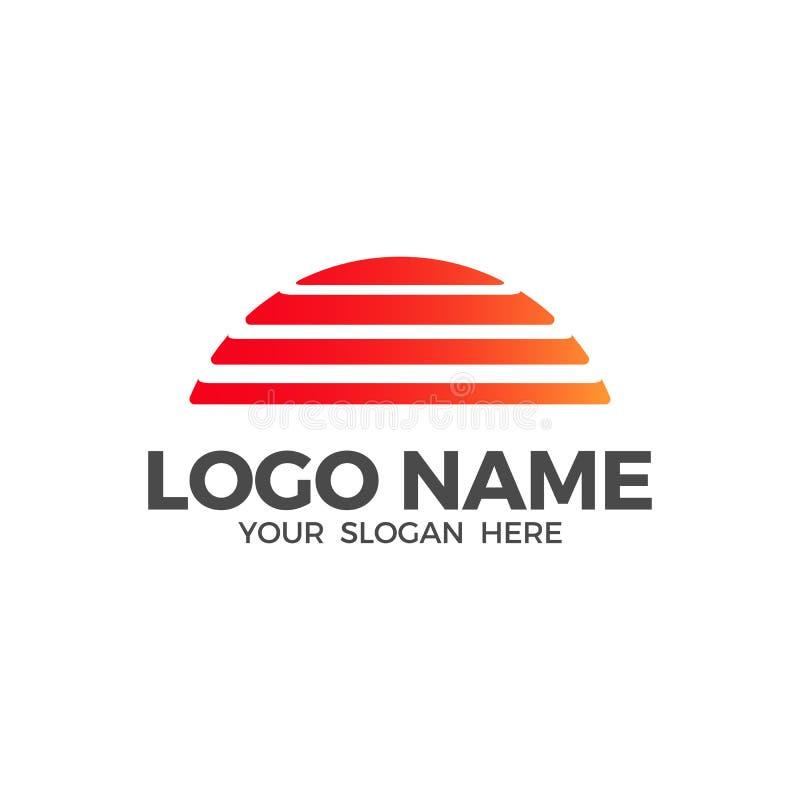 Calibre de conception de logo de vecteur de plage de coucher du soleil illustration stock