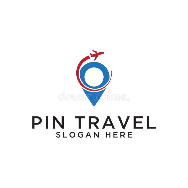 Calibre de conception de logo de voyage de carte de Pin illustration libre de droits