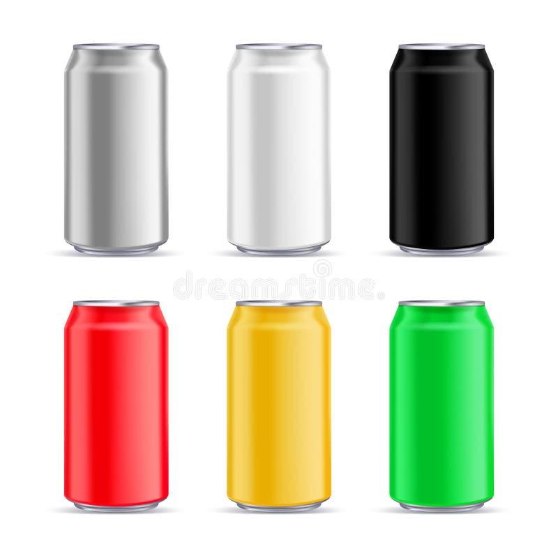 Calibre de conception de maquette de boîte en aluminium Dirigez l'illustration 3d réaliste de l'emballage en aluminium multicolor illustration de vecteur