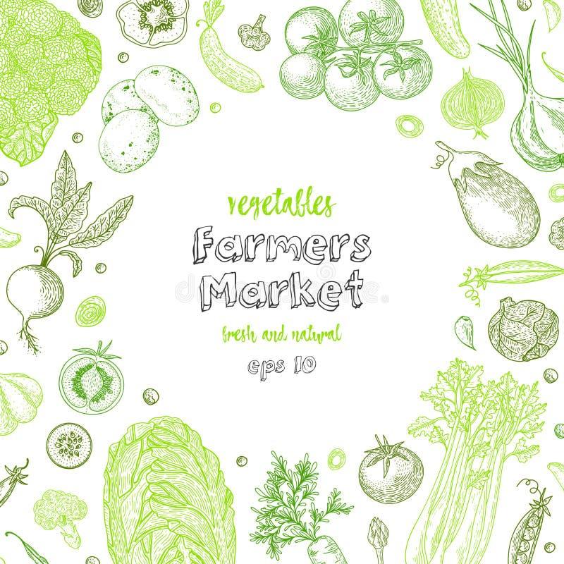 Calibre de conception de menu du marché d'agriculteurs Fond végétarien de vintage avec les produits biologiques naturels Détaillé illustration libre de droits