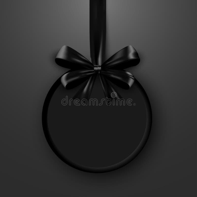 Calibre de conception de Noël Bannière d'invitation avec le ruban noir d'arc d'isolement sur le contexte foncé Affiche de promoti illustration libre de droits