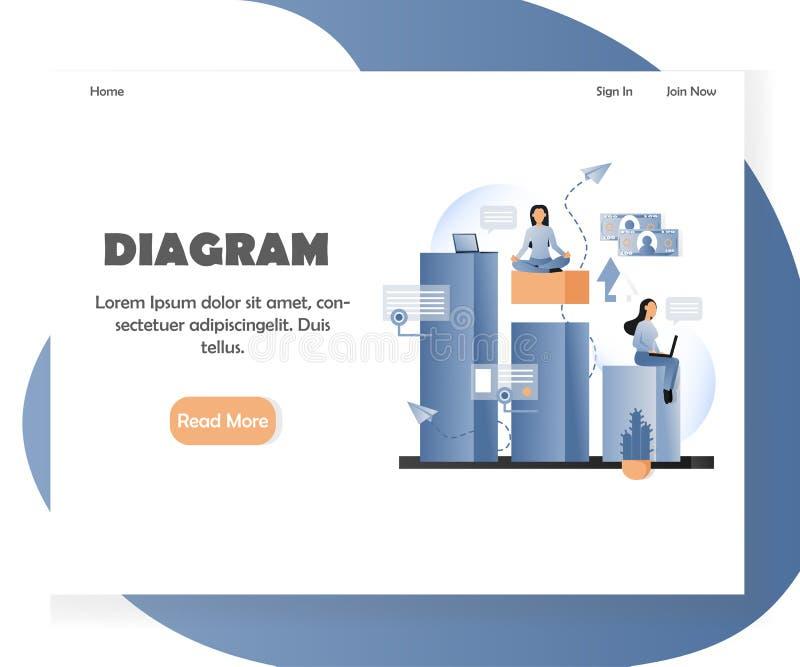 Calibre de conception de page d'atterrissage de site Web de vecteur de diagramme d'affaires illustration stock