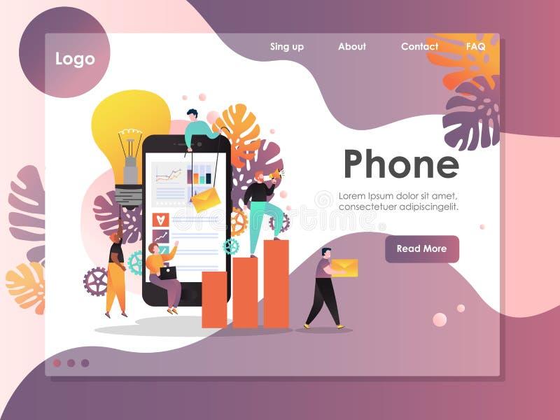 Calibre de conception de page d'atterrissage de site Web de vecteur de téléphone portable illustration libre de droits