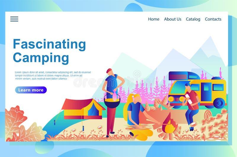 Calibre de conception de page Web pour camper Personnes de bande dessinée le reposant ensemble le parc illustration stock