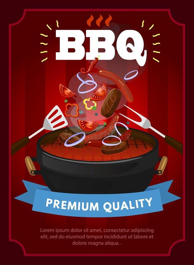 Calibre de conception de partie de BBQ avec l'équipement de barbecue, les saucisses grillées, les biftecks et les légumes Calibre illustration de vecteur