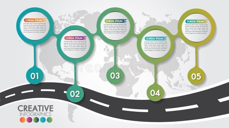 Calibre de conception de route de carte de navigation d'Infographic d'affaires avec 5 étapes ou options et 5 options de nombres P illustration de vecteur