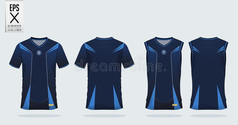 Calibre de conception de sport de T-shirt de modèle de rayure bleue pour le débardeur de football, le kit du football et le dessu illustration libre de droits