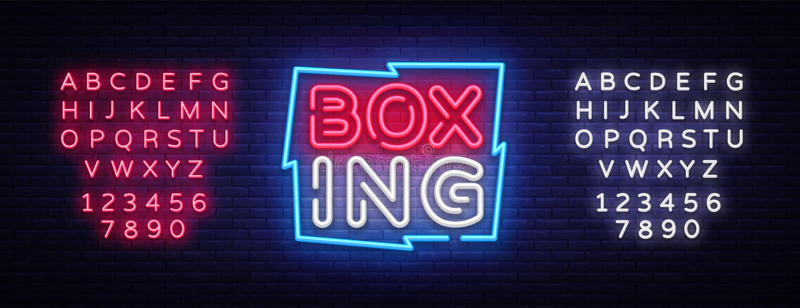 Calibre de conception de vecteur d'enseigne au néon de boxe Logo au néon de boxe, tendance colorée de conception moderne de banni illustration stock