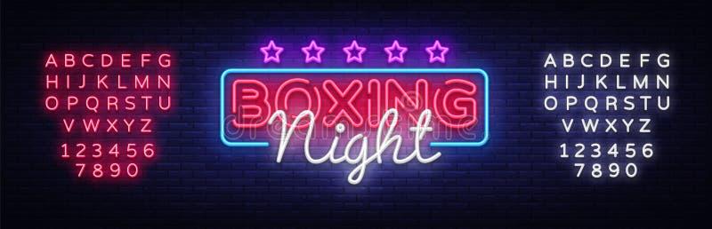 Calibre de conception de vecteur d'enseigne au néon de nuit de boxe Logo au néon de boxe, conception moderne colorée de bannière  illustration stock