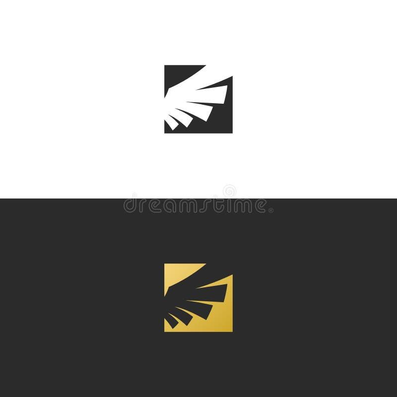 Calibre de conception de vecteur de logo de place de couleur d'or d'aile illustration stock