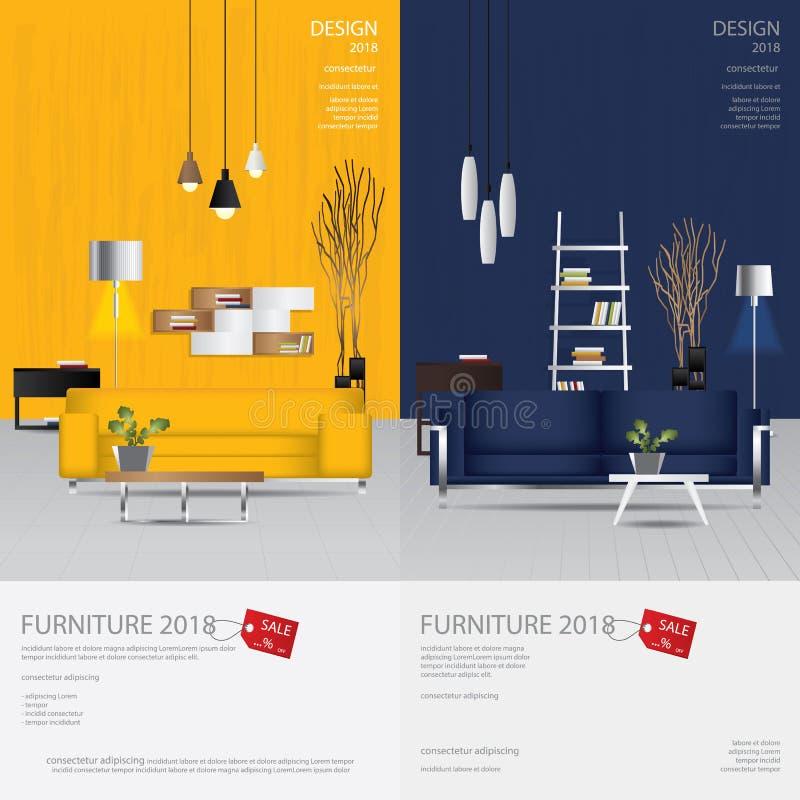 Calibre de conception de vente de meubles de bannière de 2 verticales illustration libre de droits