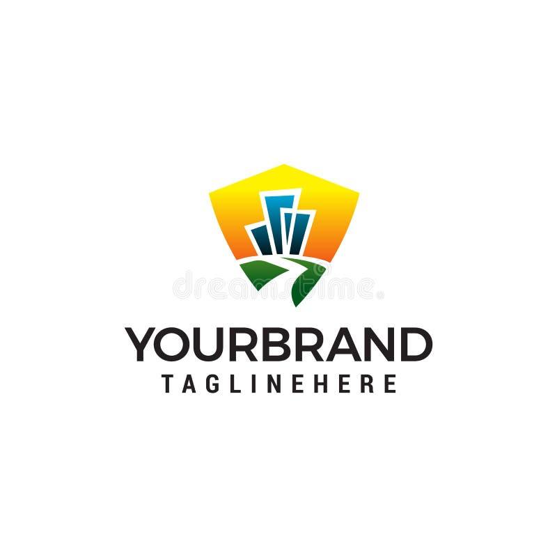 Calibre de construction de concept de construction de logo de route illustration stock