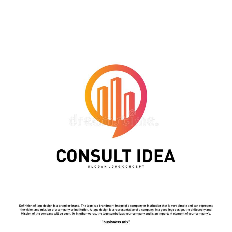 Calibre de consultation de construction moderne de conception de logo d'agence Concept moderne de logo de causerie de ville illustration de vecteur