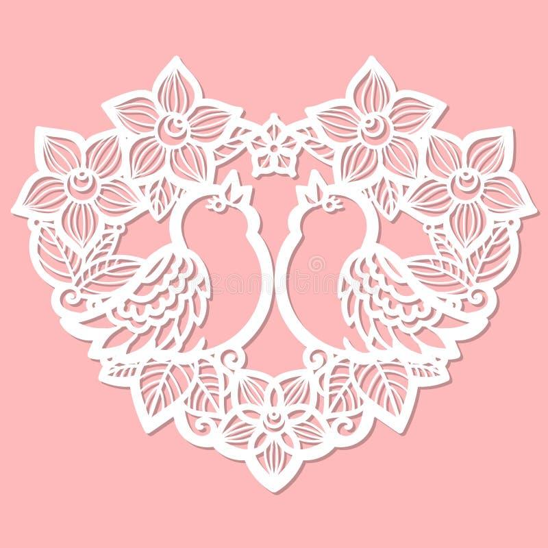 Calibre de coupe de laser Coeur des fleurs illustration stock