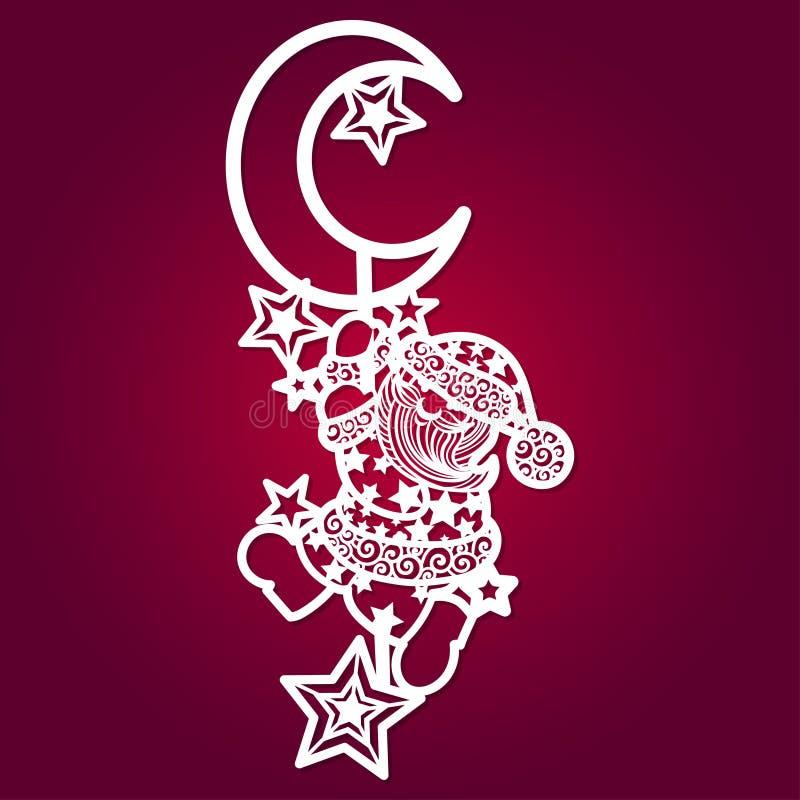 Calibre de coupe de laser Santa Claus avec les étoiles et la lune illustration stock