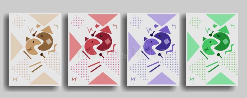 Calibre de couverture avec des chiffres de style de Memphis de la géométrie pour des brochures, affiches, bannières illustration de vecteur