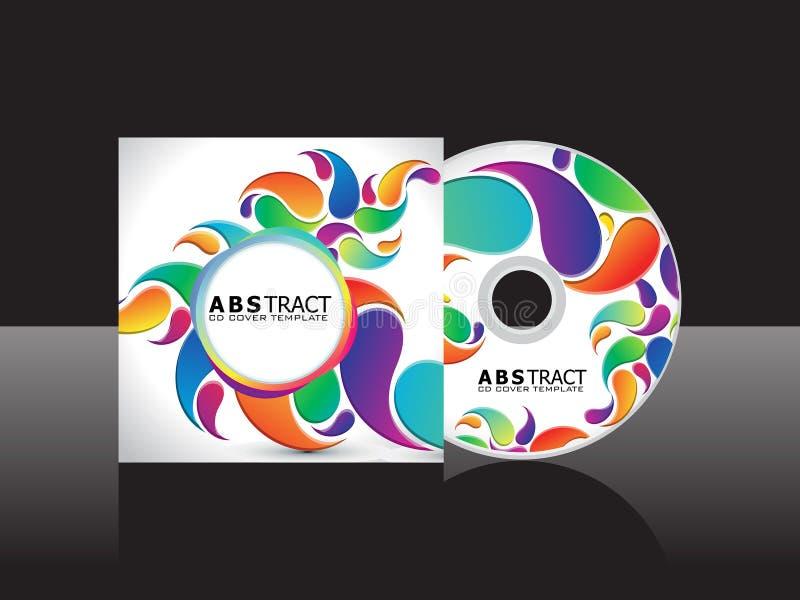 Calibre de couverture cd floral d'arc-en-ciel artistique abstrait illustration de vecteur
