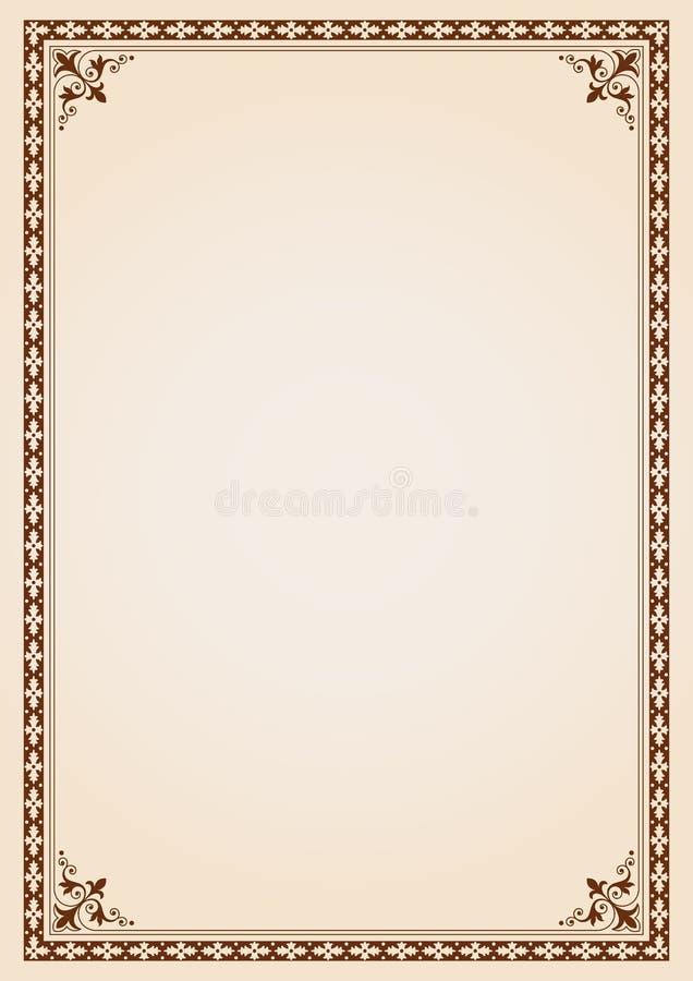 Calibre de couverture décoratif de livre de certificat de cadre de frontière illustration stock