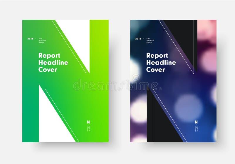 Calibre de couverture de rapport avec le gradient doux vert et la lettre N illustration stock