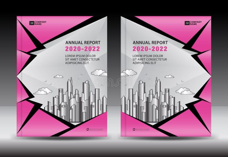 Calibre de couverture rose avec le paysage de ville, conception de couverture de rapport annuel, calibre d'insecte de brochure d' illustration libre de droits