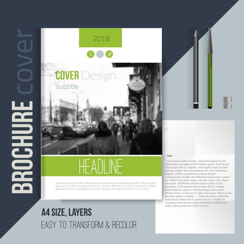 Calibre de couverture vert de brochure avec la lettre et le stylo blured de paysage de ville Template de corporation pour des des illustration stock