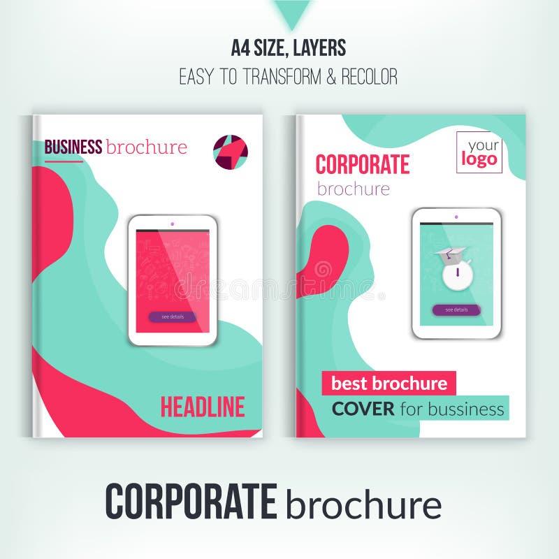 Calibre de couverture vert de brochure avec les formes abstraites et le comprimé Template de corporation pour des dessin-modèles  illustration de vecteur