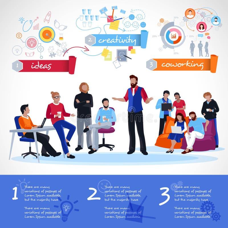 Calibre de Coworking Infographics illustration libre de droits