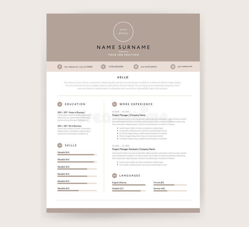 Calibre de cv/résumé - conception élégante élégante - fond beige illustration libre de droits
