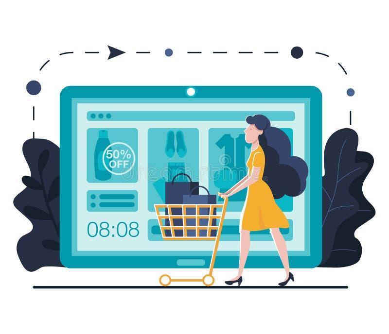 Calibre de débarquement de achat en ligne de page pour le site Web ou le mobile Jeune femme avec des achats de chariot en ligne u illustration stock