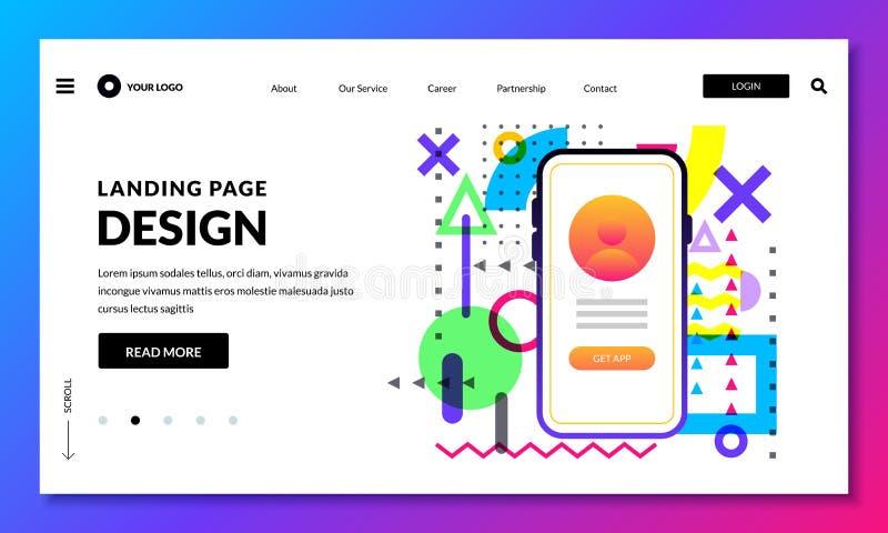 Calibre de débarquement de conception de bannière de page Site Web ou concept mobile d'interface Éléments de conception de dispos illustration de vecteur