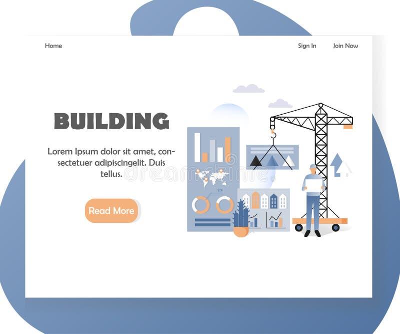 Calibre de débarquement de conception de page de site Web de vecteur de construction de logements illustration de vecteur