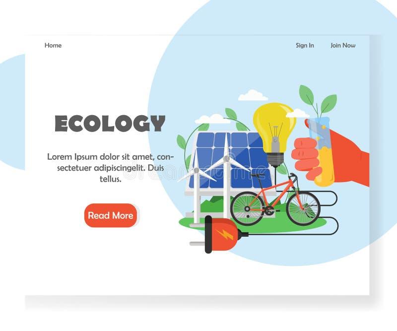 Calibre de débarquement de conception de page de site Web de vecteur d'écologie illustration de vecteur