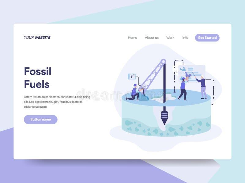 Calibre de débarquement de page de concept d'illustration de combustible fossile Concept de construction plat isométrique de conc illustration libre de droits