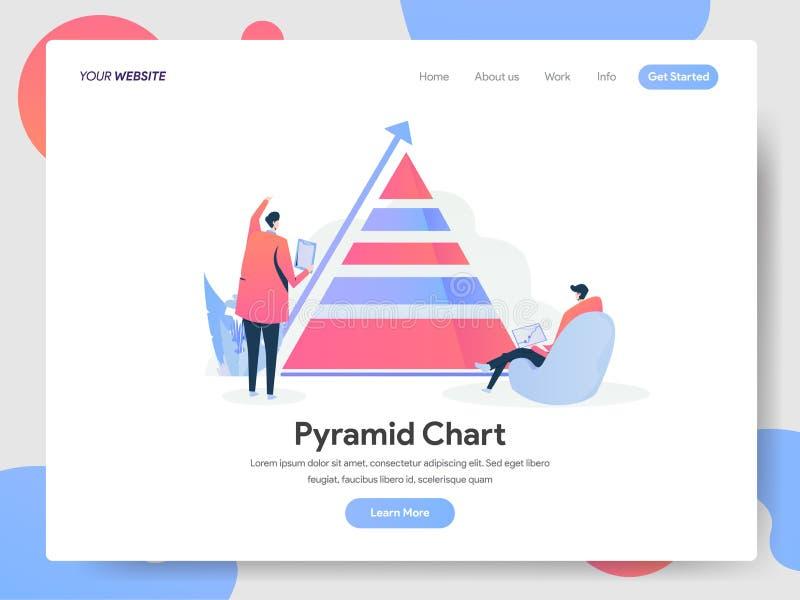 Calibre de débarquement de page de concept d'illustration de diagramme de pyramide Concept de construction moderne de conception  illustration libre de droits