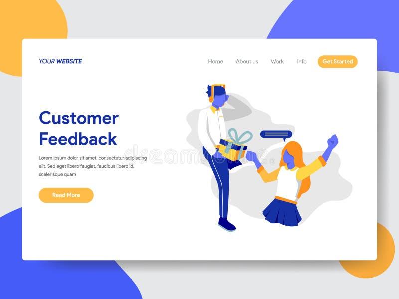 Calibre de débarquement de page de concept de feedback de la clientèle r illustration de vecteur