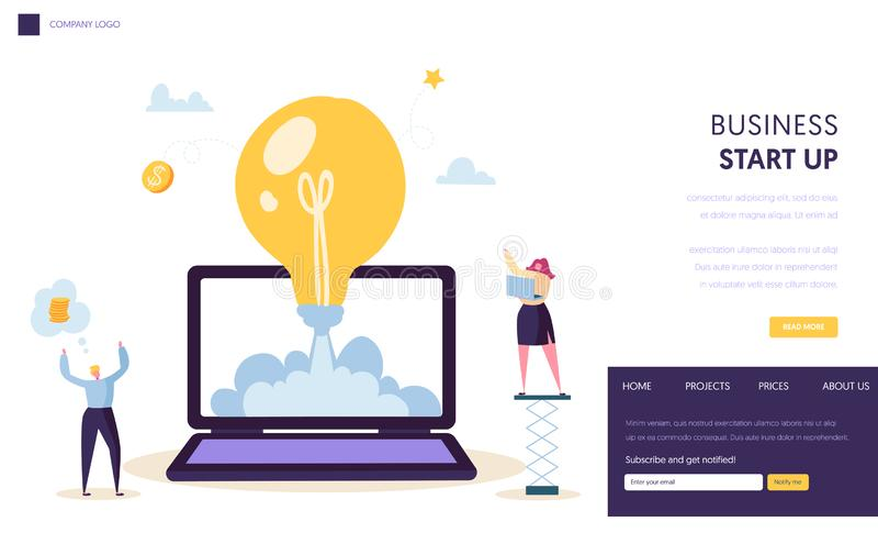 Calibre de débarquement de page de début créatif de démarrage d'idée Icône conceptuelle d'ampoule Projet de conception de personn illustration libre de droits