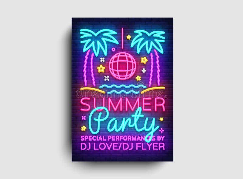 Calibre de design de carte d'invitation de partie d'été Affiche de partie d'été dans le style au néon, conception moderne de tend illustration libre de droits