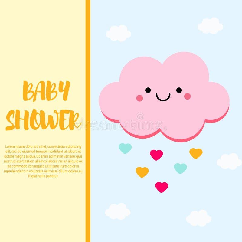 Calibre de design de carte de fête de naissance avec le caractère rose mignon de nuage illustration de vecteur